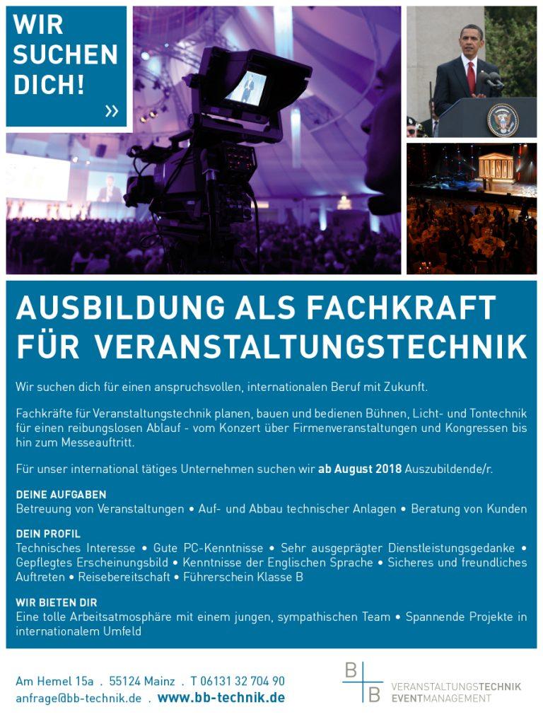 Ausbildung Fachkraft für Veranstaltunsgtechnik Mainz Rhein-Main-Gebiet