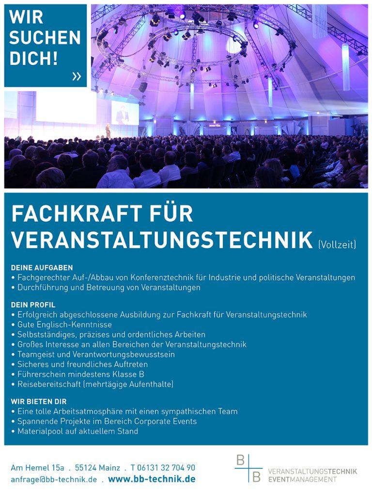 Fachkraft für Veranstaltungstechnik Mainz Frankfurt Festanstellung
